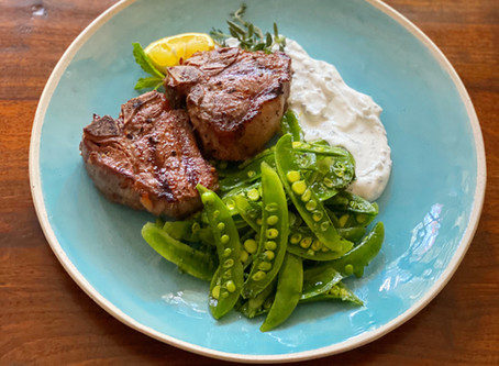 Grilled Lamb Chops with Herbed Yogurt & Sugar Snap Pea Salad