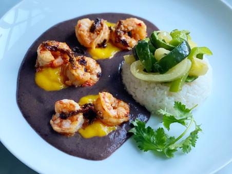 Seared Shrimp with Salsa Macha, Black Bean Puree, Mango, & Sautéed Peppers