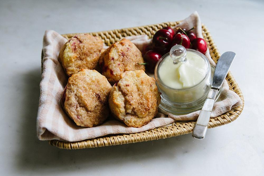 Cherry Lemon Yogurt Muffins