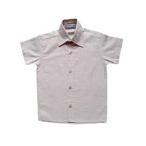 Camisa Social Infantil Masculina - Bege