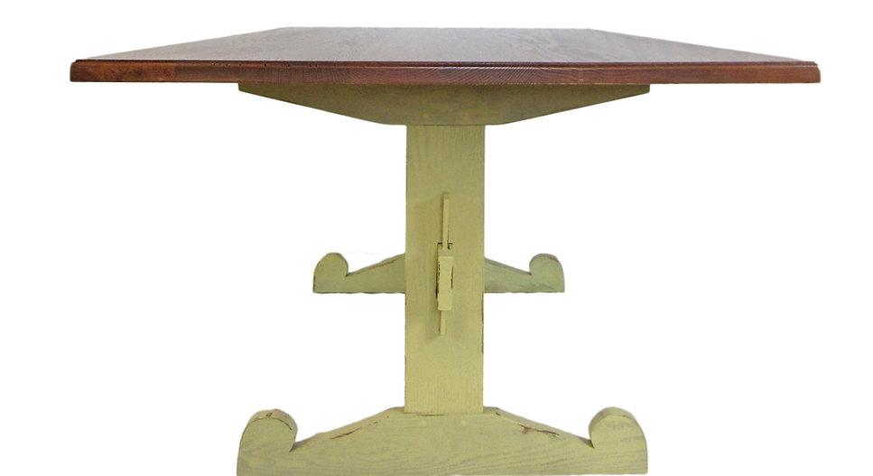 Oak Swedish Trestle Dining Table Side Vi
