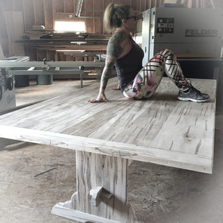 Ambrosia Maple Country Trestle Table