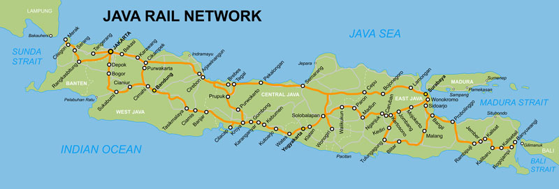 Java Rail route map
