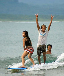 Batukaras learning to surf South West Java