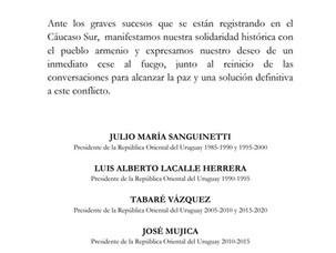 Declaración Conjunta Expresidentes del Uruguay