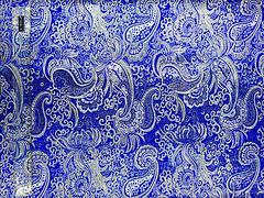 Парча Огурцы Серебро на синем