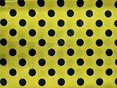Атлас-горох 25 мм Черный на желтом