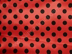 Атлас-горох 25 мм Черный на красном