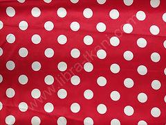 Атлас-горох 25 мм Белый на красном