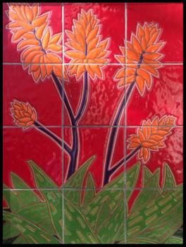 Blooming Aloe (hand-glazed tile)
