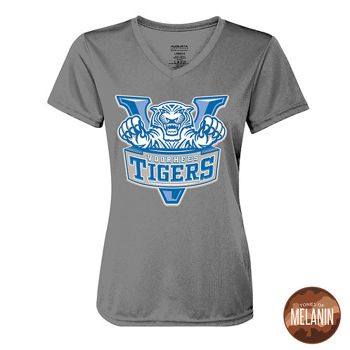 Women's Grey Voorhees Tiger V-Neck Dry Fit T-Shirt