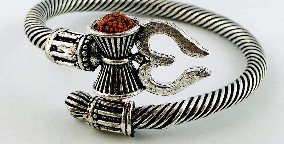 Oxidized Trishul Bracelet For Men ( Free Size ), Shiva Bracelet Silver Plated