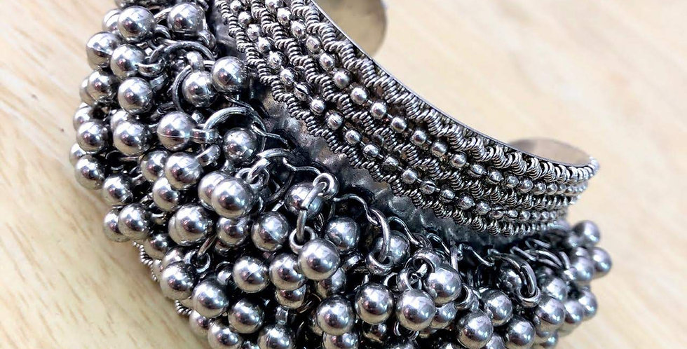 Oxidized Silver Plated Ghunghroo Kada, Oxidized Bracelet Free Size