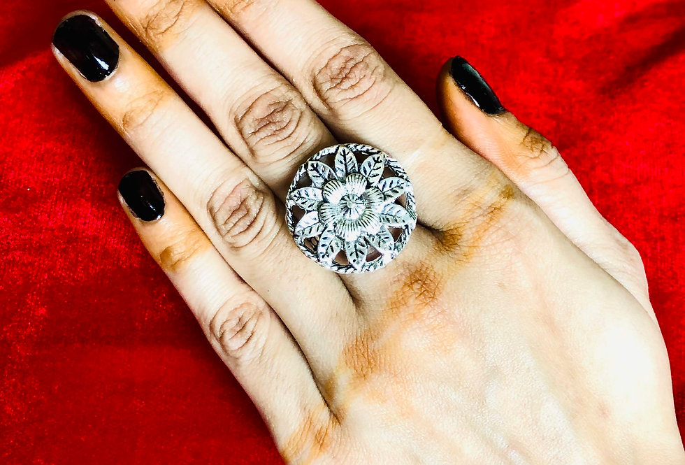 Ethnic Style Flower Design Round Shape Adjustable Rings, German Silver Ring