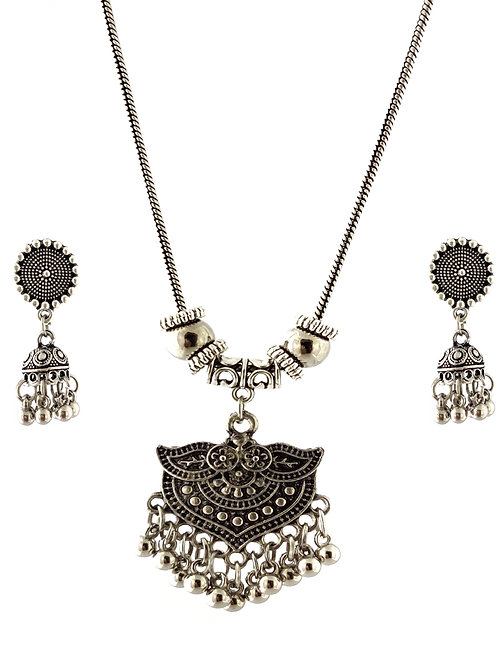 Oxidized Chain Necklace Set with  Jhumka