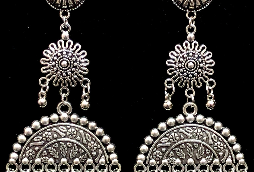 Light Weight Oxidised Charms Earrings With Stud For Girls