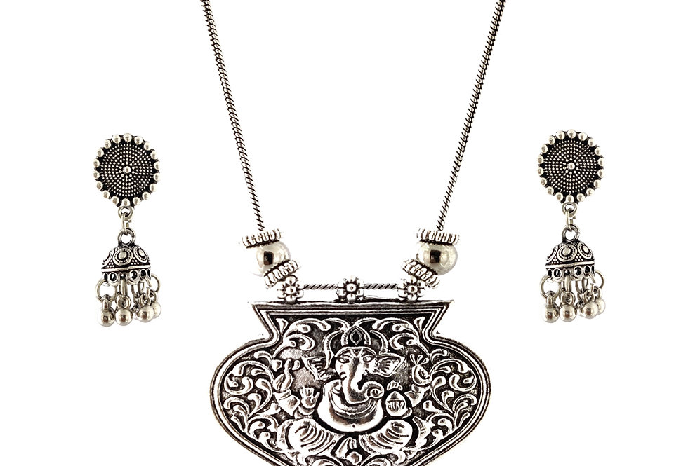 Oxidized Chain Necklace Set in Stylish Lord Ganesha Pendent  with  Jhumka