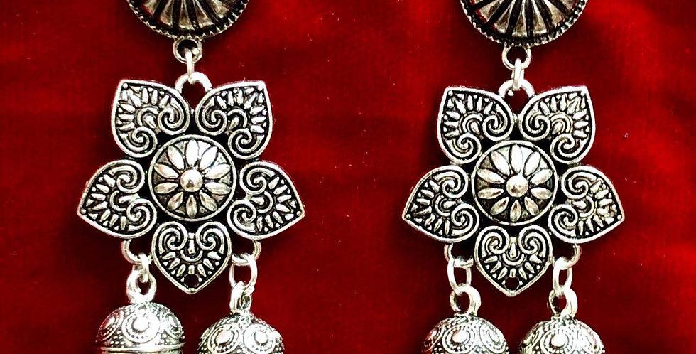 Flower Style Oxidized Jhumka Earring, Antique jhumki Earring