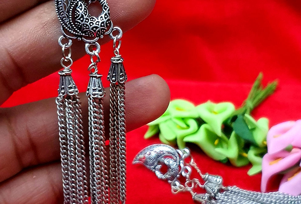 Designer German Silver Earring , Oxidized Hanging Earrings