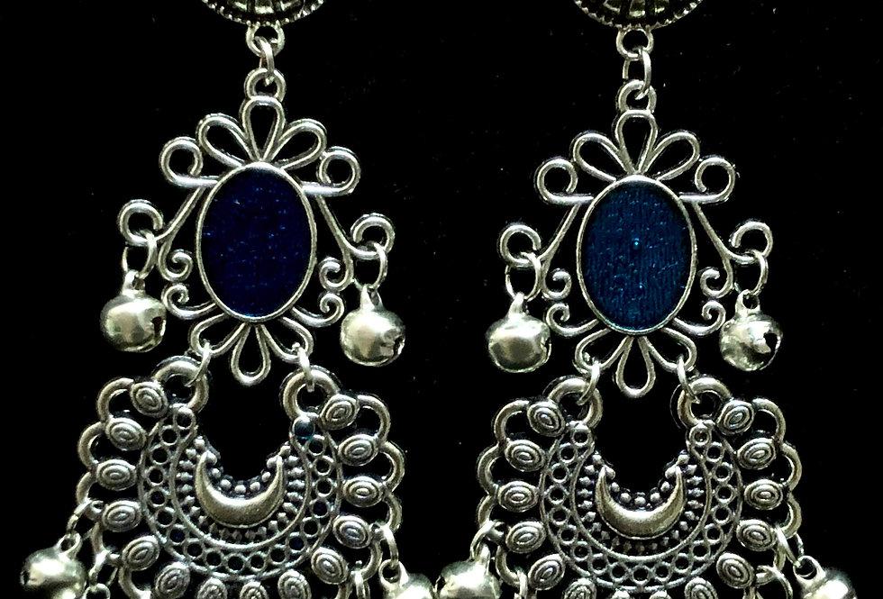 Blue MeenaKari Oxidized Chandbali Earrings with Stud Pushback Facility