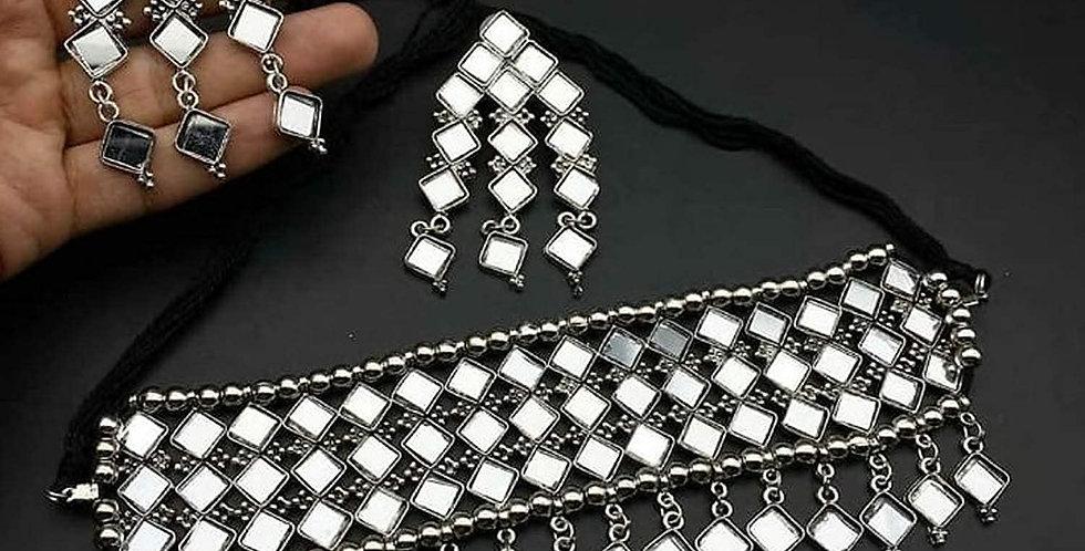 German Silver Afghani Choker With Stone thread work