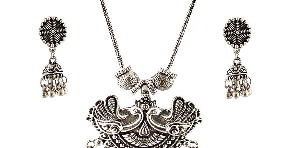 Oxidized Chain Necklace Set in Stylish Peacock Pettren Pendent  with  Jhumka