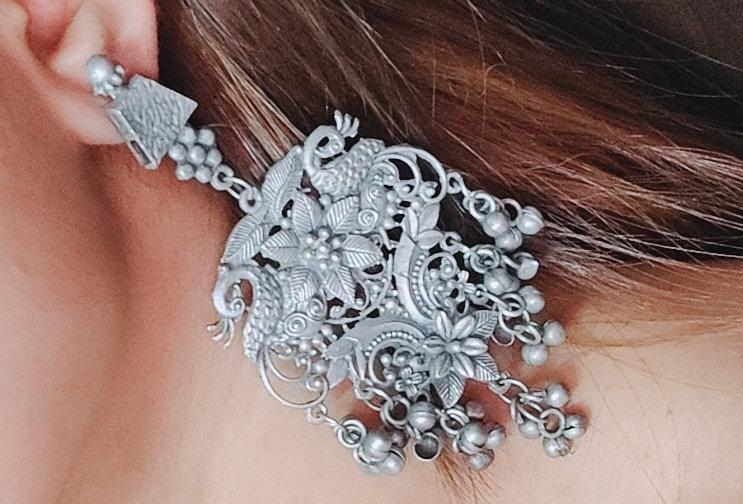 Black Polish Oxidized Peacock Earring