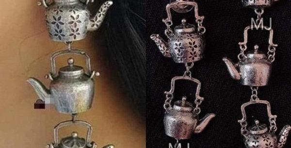 Oxidized Silver Plated Tea Pot Style Earrings | German Silver Jewellery