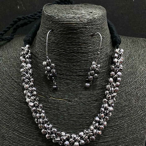 Oxidized Ghunghru Necklace Set with Matching Earrings