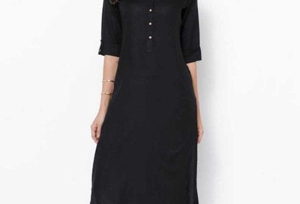 Casual Wear Pure Rayon Kurti in Solid Black Color | Simple  Sobar Rayon Kurta