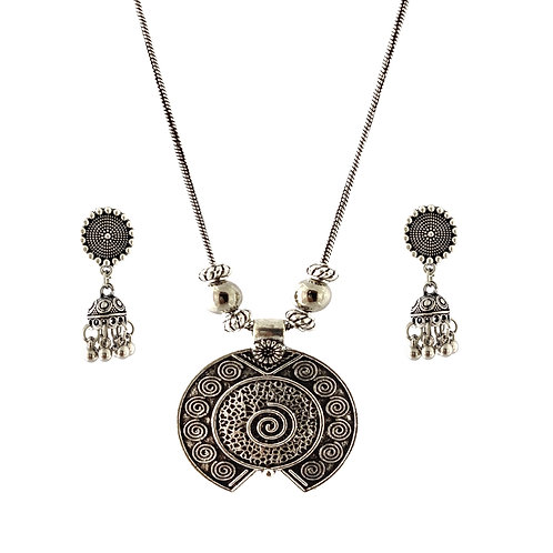 Oxidized Chain Necklace Set in Unique Flower Pendent with  Jhumka
