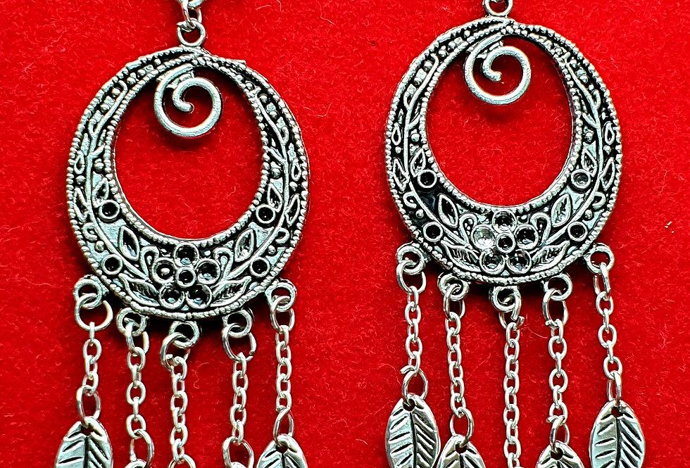 Silver Plated Chandbali Earrings in Oxidized Style,  oxidised Earring