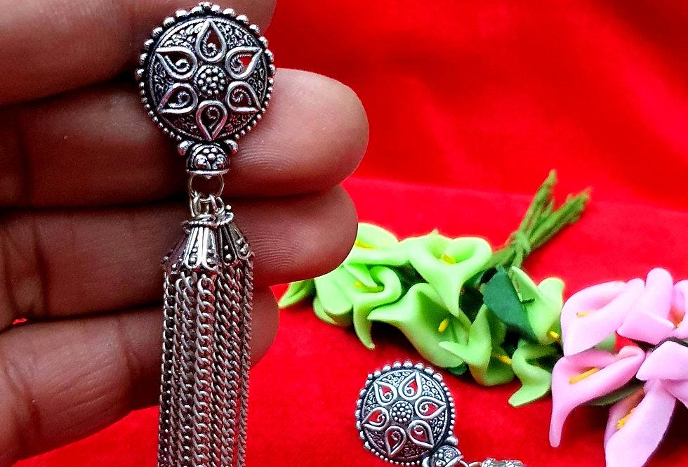 Peacock Shape German Silver Jhumki Earring , Oxidized Hanging Earrings