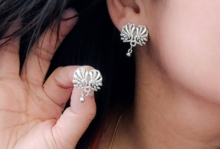 German oxidised silver studs with an indo-western Peacock Design