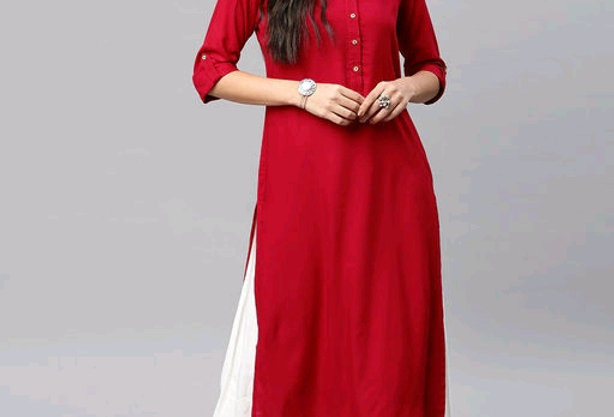 Pure Rayon Kurti with Premium Quality kurti for Girls | Red Straight Kurta