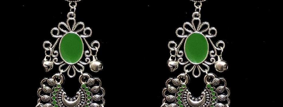 Green MeenaKari Oxidized Chandbali Earrings with Stud Pushback Facility