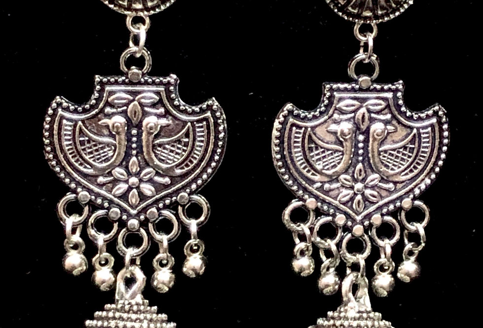 Oxidized Silver Plated Jhumka Earrings in Peacock Design Work