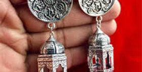 German Silver Scripted Statement Stud Earrings With Mandir Jhumka