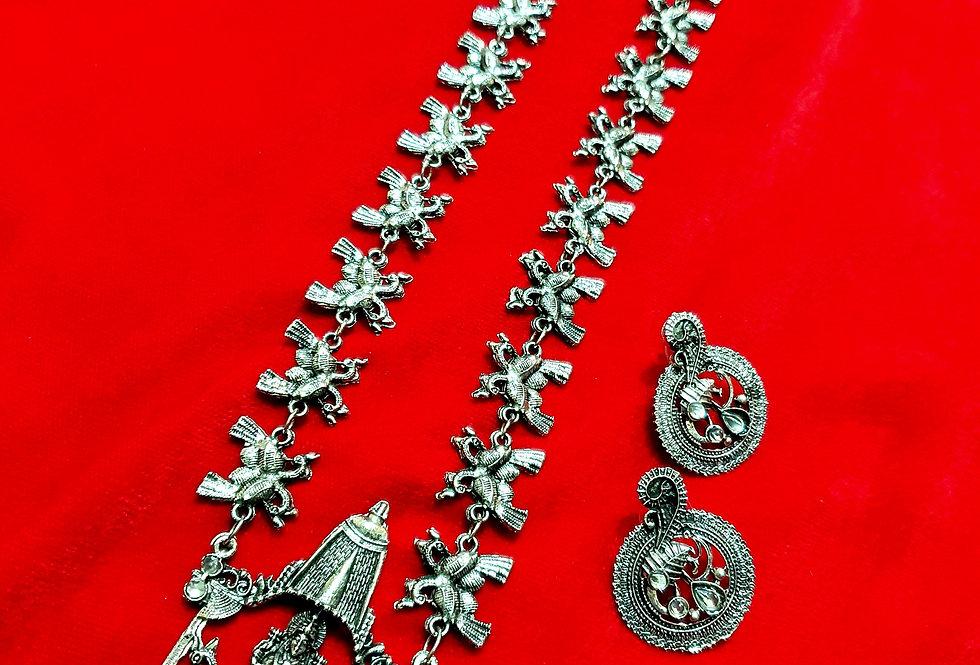 Lord Laxmi Oxidized Chain Necklace in Kolhapuri Theme | Oxidized Long Necklaces