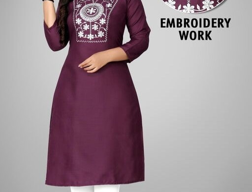 Cotton Febric Embroidery Work three Quarter Sleeves Kurti for Girls