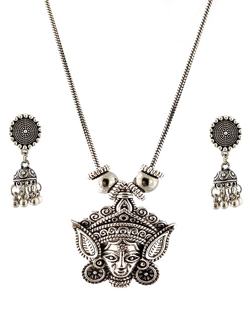 Oxidized Chain Necklace Set in Lord Durga Pettren Pendent  with  Jhumka