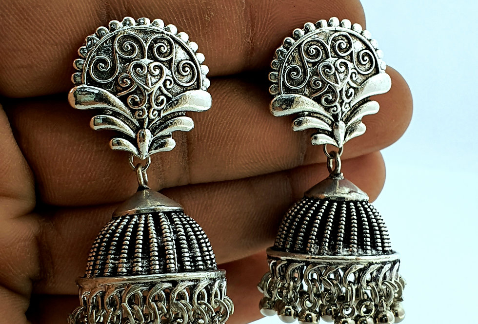 Antique Bohemain Style Copper Based Jhumka Earrings For girls