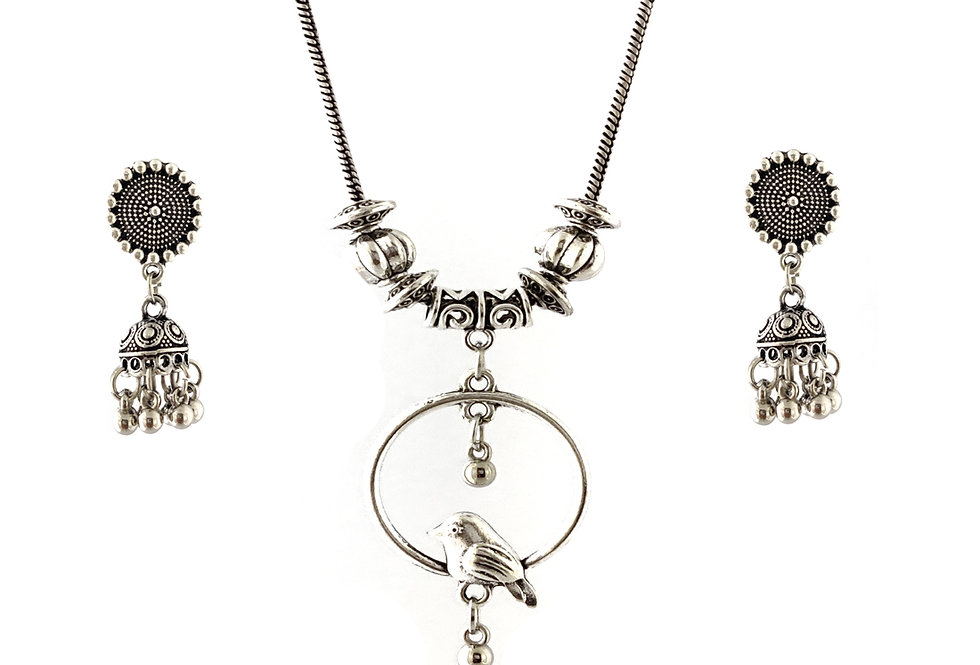 Oxidized Chain Necklace Set Hanging Birds Style with  Jhumka