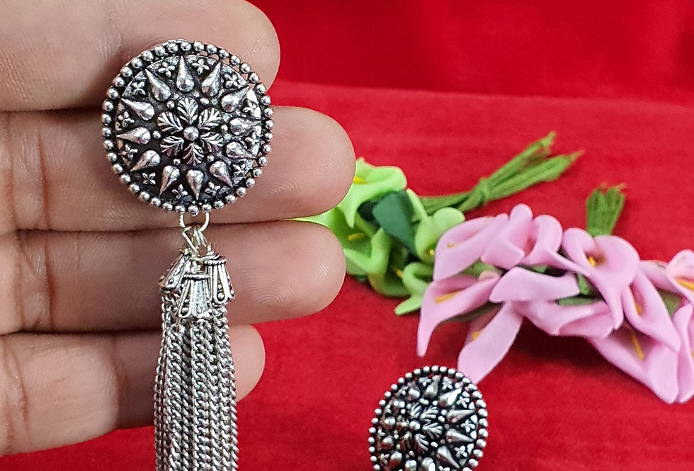 Round Shape German Silver Chain Earring ,  Hanging Earrings