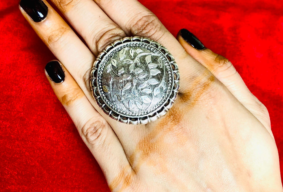 Bollywood Style Designer Rings for Girl, Adjustable Oxidized Ring