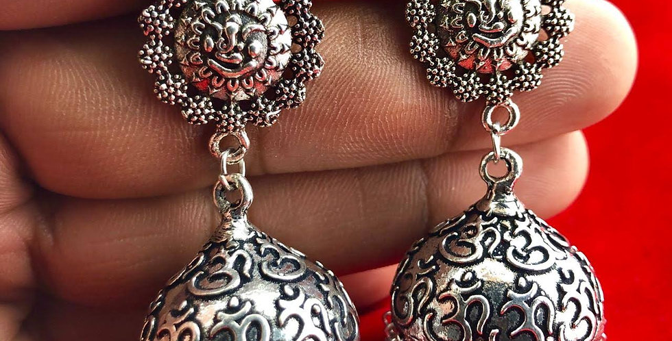 Round Shape Oxidized German Silver Mantra Earring in Oxidized Silver