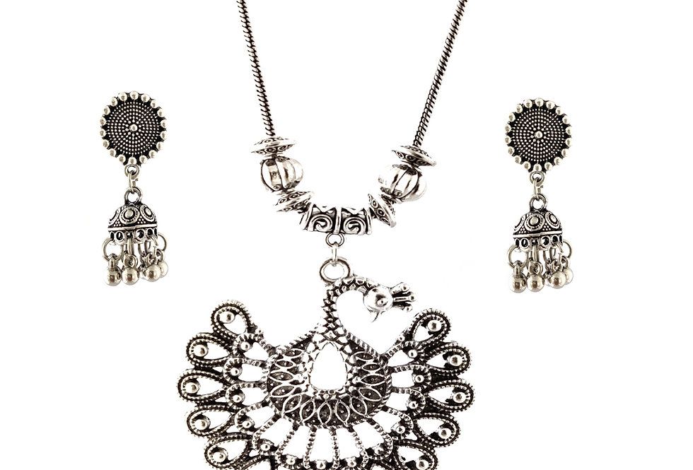 Oxidized Chain Necklace Set in Stylish Peacock Pendent with  Jhumka