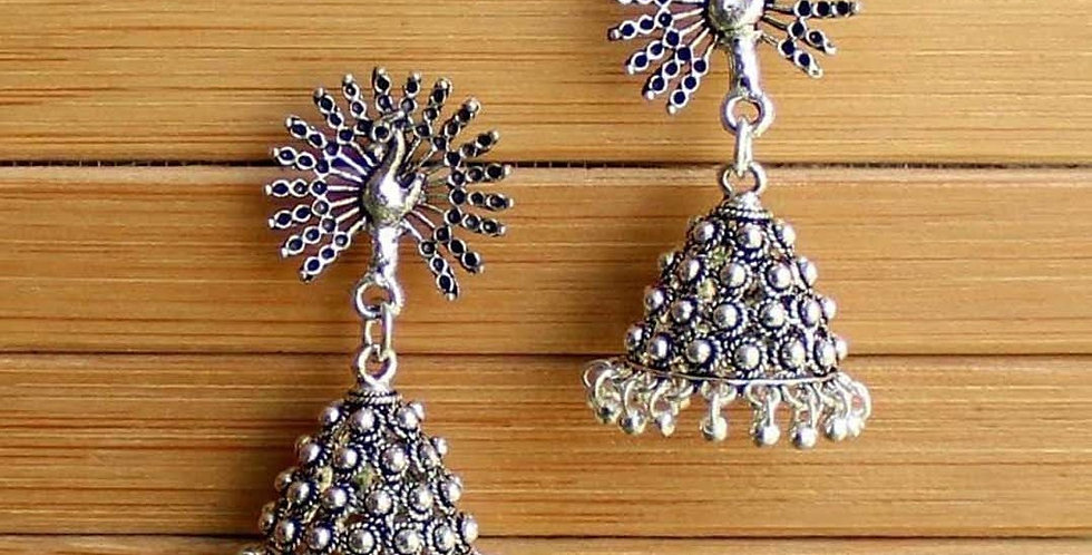 Traditional Peacock Stud Jhumka Earrings for girls