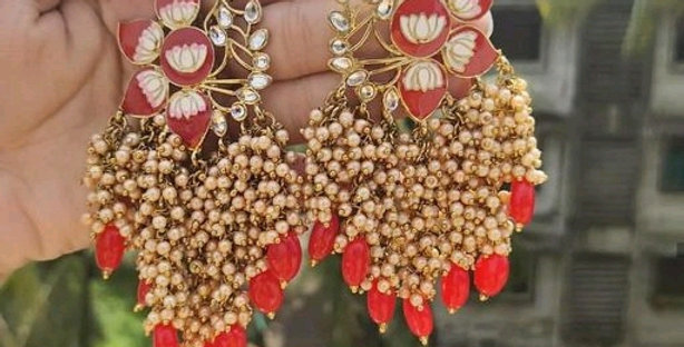 Meenakari Oxidized Earrings Collection with Pearl Work   Traditional Earrings