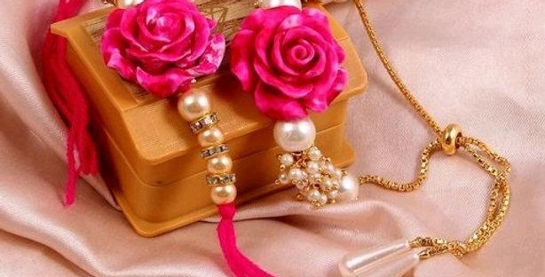 Latest Bhaiya Bhabhi Rakhi, Rose Flower Theme Based Rakhi